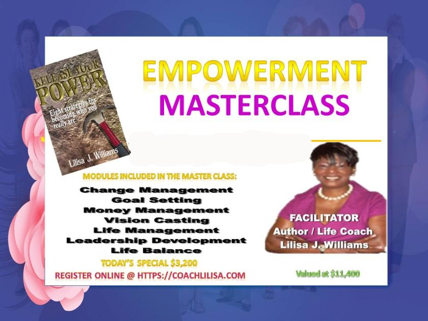 The ultimate in personal and professional coaching where you will spend the day with Coach Lilisa and work on the Design, Plan, Action Steps, and Follow-through of your unique Personal or Professional goals.